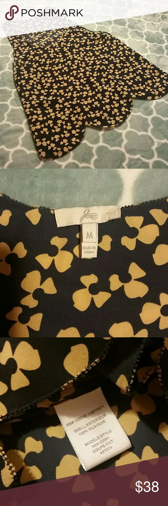"""Joie Hana Half Flower Scalloped Silk Tank Size M Joie Hana Half Flower Silk Tank Top. Women's Size M. Navy Blue/Tan. A wavy hem finishes a flowy silk tank peppered with floral silhouettes and finished with jagged pinking at all edges.   EUC.  Approx. length from shoulder: 25 1/2"""" Joie Tops Tank Tops"""