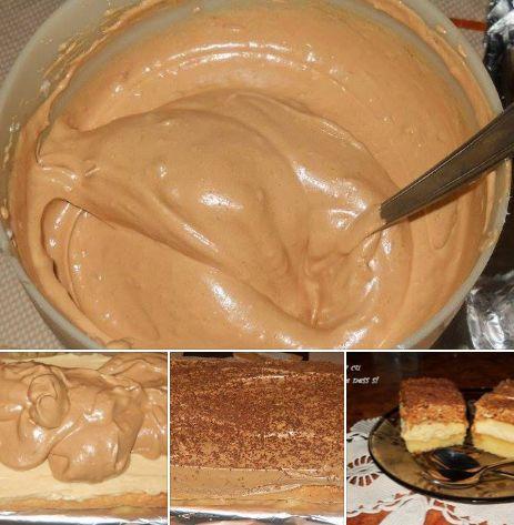 Desert prajitura cu spuma de ness si caramel