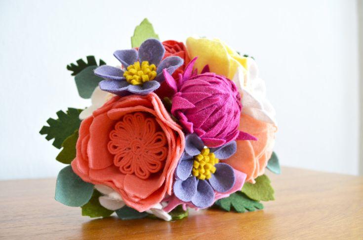 Heirloom Felt Flower Bouquet Ranunculus Cabbage Rose