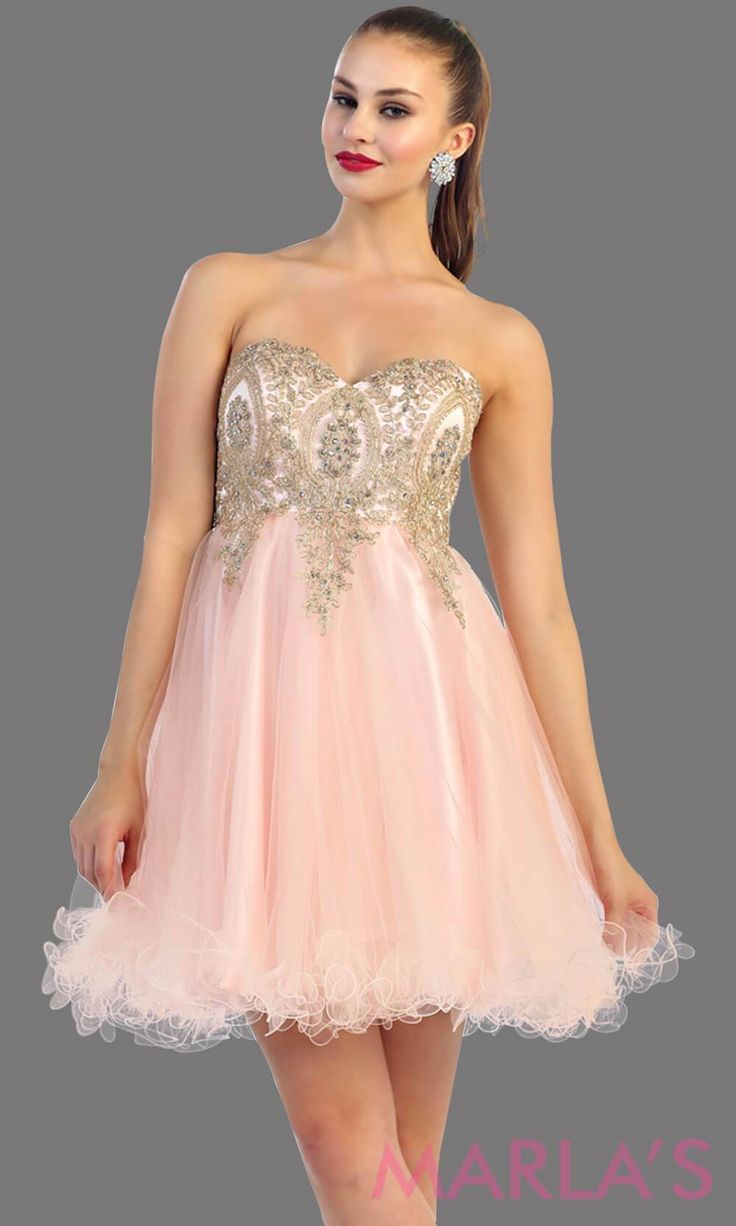 09f0bc917176c Short strapless puffy blush dress with a corset back. This is a perfect  grade 8 grad dress, light pink graduation dress, homecoming, semi formal,  ...