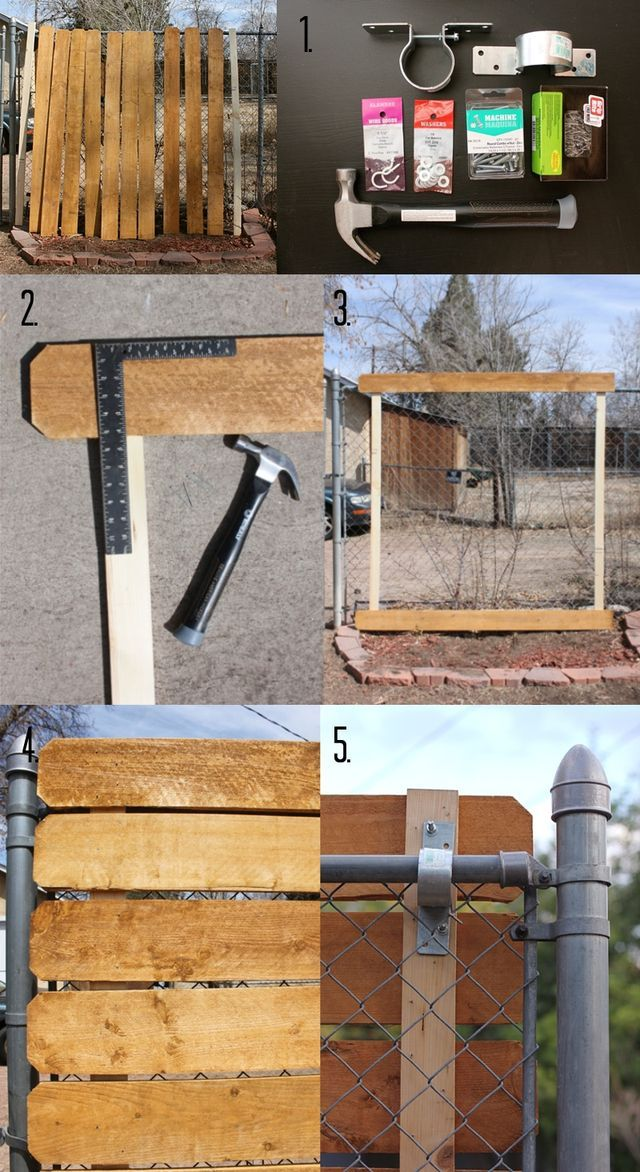 How to cover existing chain link with cedar panels for privacy - no damage to existing fence