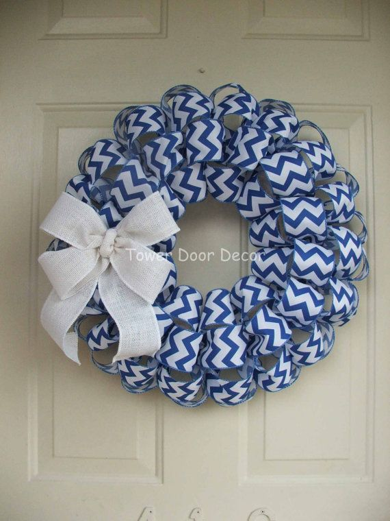 UK University of Kentucky  Blue and White Chevron Wreath, Patriotic Wreath by TowerDoorDecor, $35.00