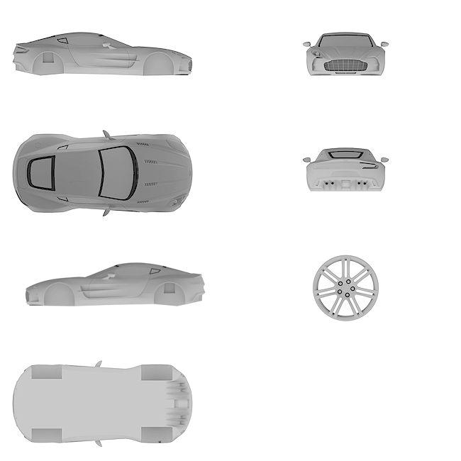 4k Ultra HD high resolution blueprint of Aston | One-77