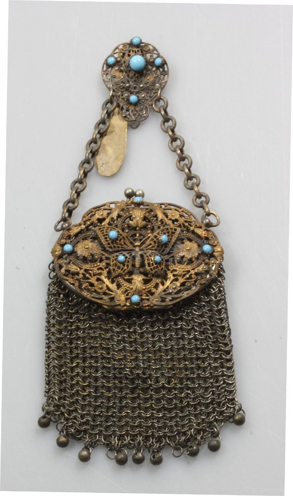 RARE Butterfly Chatelaine Purse Antique 19th Century Silver Plate Filigree |