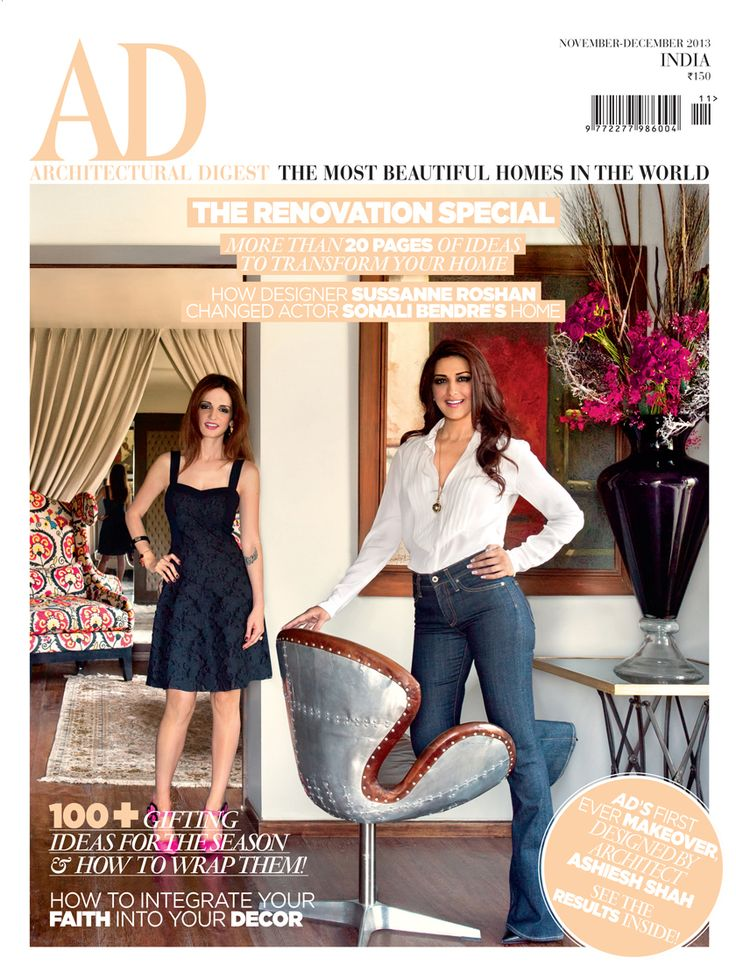 November-December 2013 #Actor Sonali Bendre #Designer Sussanne Roshan #Celebrity #Mumbai http://www.magzter.com/IN/Conde-Nast-India/AD-Architectural-Digest-India/Home/32548