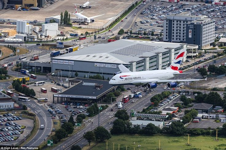 Aerial View of a British Airways Flight Approaching an Airport