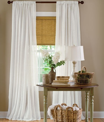 Sheer Linen Rod Pocket Panel from Country Curtains. Add a nice, soft touch to a large bay window. Lovely in the dining room.