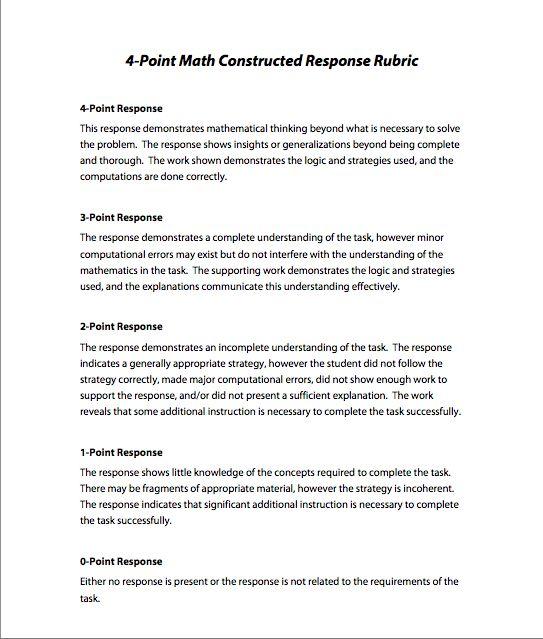 short response writing across the curriculum rubric