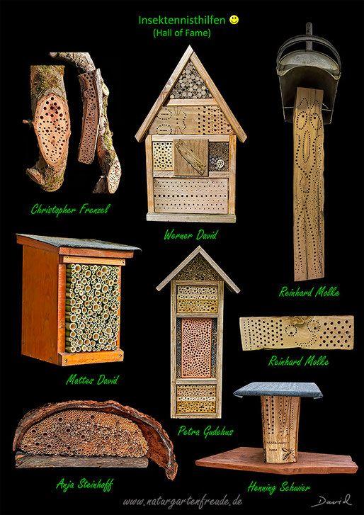 Insektenhotel Insektennisthilfe Nisthilfe insect hotel nesting aid bug house Hartholz mit Bohrungen gebrannter Ton hardwood terra cotta Wildbienen wild bee