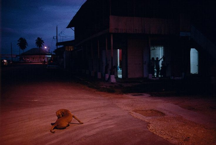 PANAMA. Boca Del Toro. 1999. Dusk in the town.