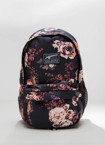 Academy Small Backpack - Puma Black + Flower