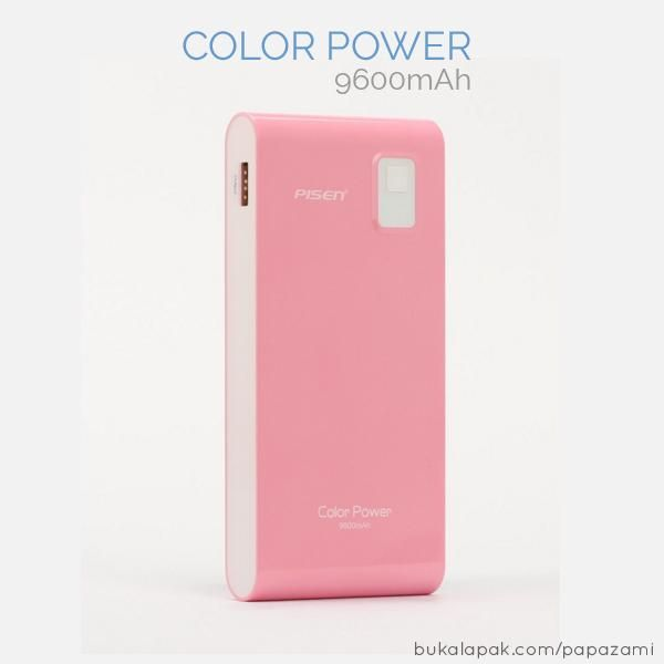 Pisen Color Power 9600mAh  This colorful power bank is with high capacity and high convertion rate, smooth surface, utralthin .   Product Name: Color Power Model: TS-D158 Input: Micro USB :5V-1.5A Output: USB:5V-1A Dimensions: 110.4*58*20.4mm Battery capacity: 9600mAh weight: 117.3g Battery Type: Hight Capacity Li-polymer  Features: * Fashionable outlook with bright color * Standard USB output, can charge smarthones, tablet MP3/MP4, etc * Built-in intelligent protection system, reliable and…