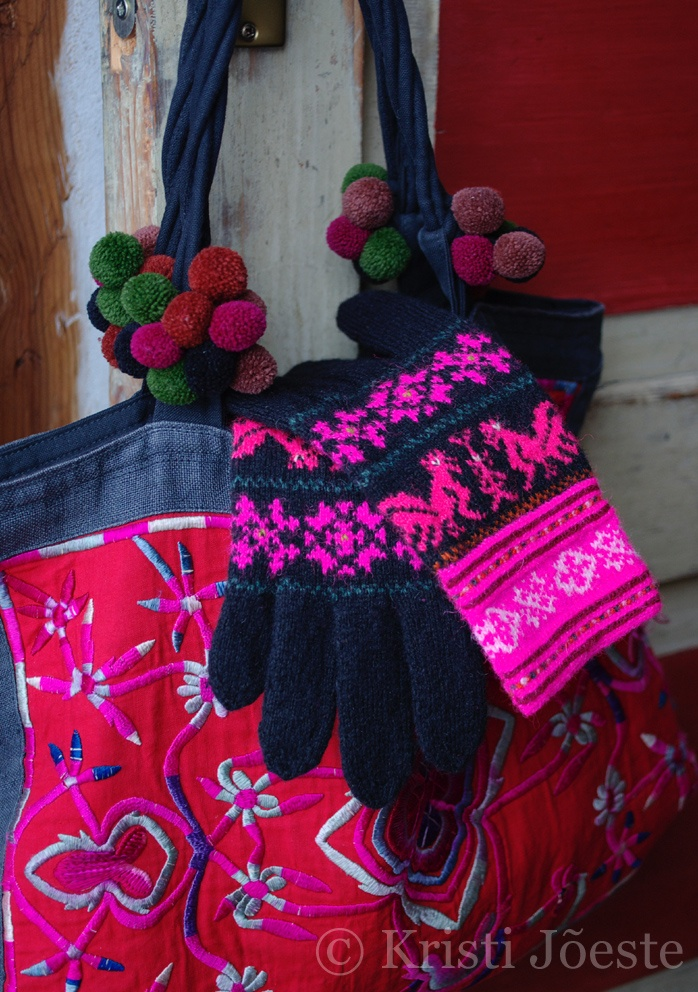 Kristi Jõeste: lovely gloves as always, but this time I save the picture for the embroidered bag in the background