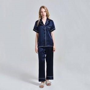 Damen Seiden Top und Hose Pyjama Set