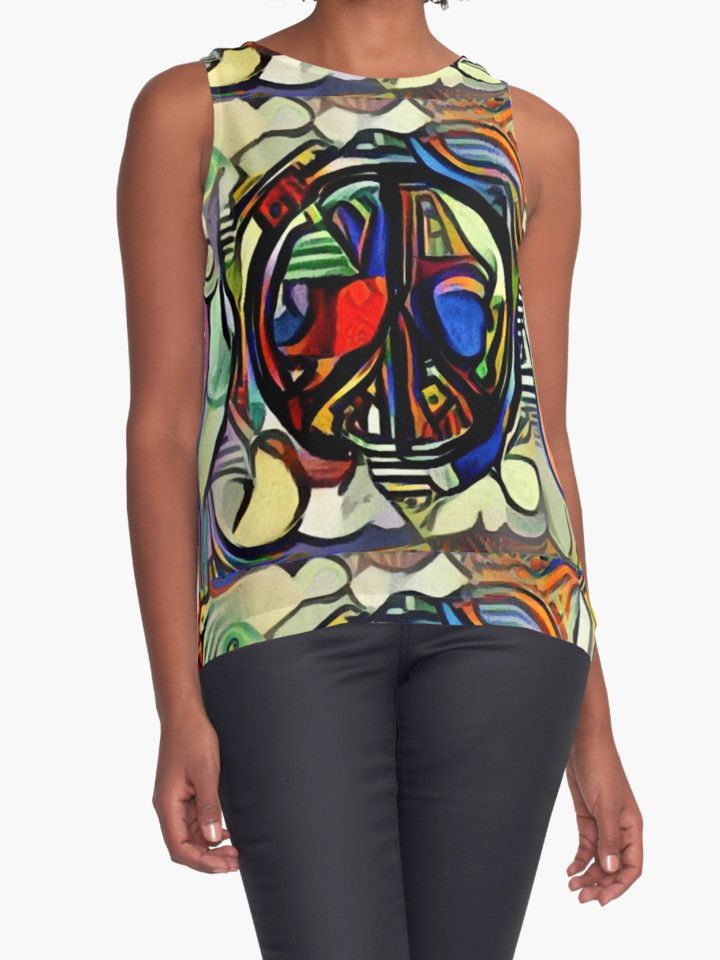 """""""Colorful peace symbol"""" Contrast Tanks by siwabudda 