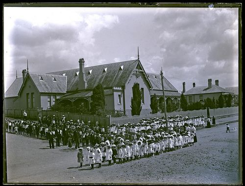 Students assembled in front of New Lambton Public School, New Lambton, NSW, 13 February 1900 | by UON Library,University of Newcastle, Australia