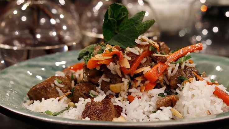 Afghansk gryta med milda, mustiga smaker. Serveras med kryddigt ångat ris på afghanskt vis.