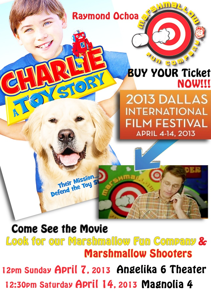 Marshmallow Fun Company is in Raymond Ochoa's new movie Charlie: A Toy Story! Get the movie & find us in it! Double Barrel shooter is even on the back of the DVD cover with Raymond! He is an amazing kid & the movie is great for families!  Follow Raymond Ochoa on Twitter.com/raymondochoa12 #DallasFilmFestival #DIFF See the movie in Dallas at 2013 International Film Festival