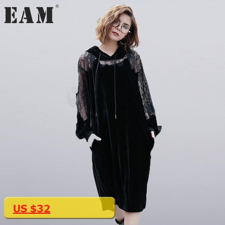 [EAM] 2018 new spring hooded long sleeve solid color black lace split joint loose big size velour dress women fashion JC93