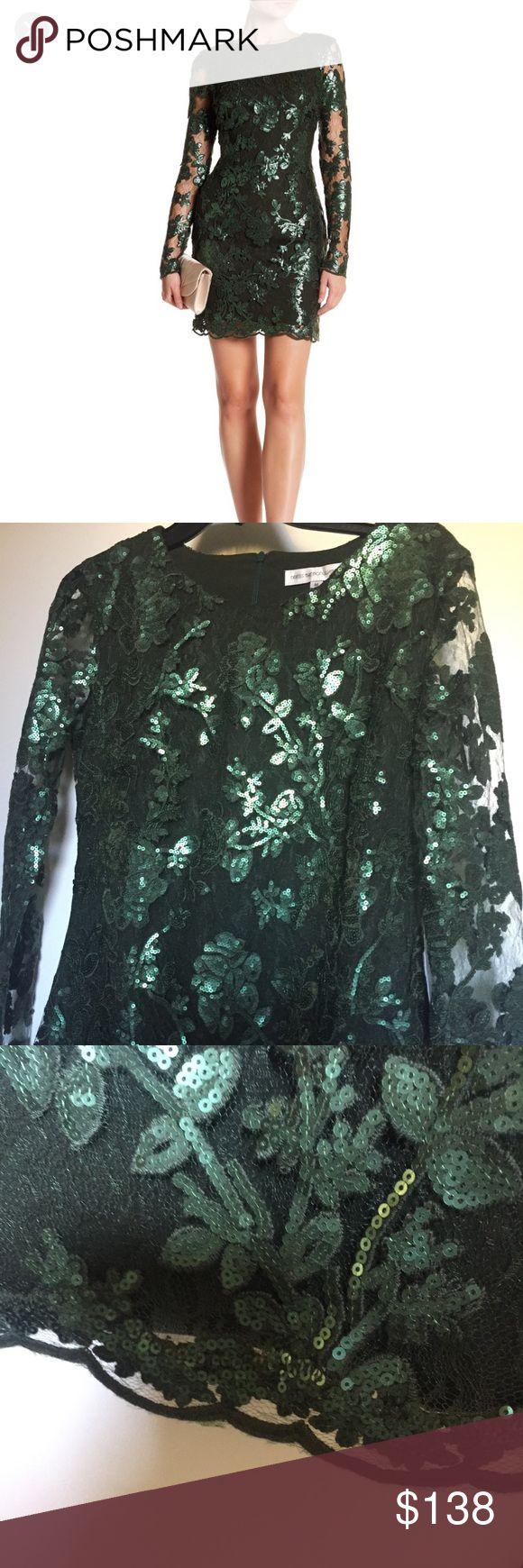 """Lace & Sequin Mini Shift Dress NWT Grace is olive. Color is a vibrant green, perfect for the holiday season!  Sheer lace mesh sleeves with floral sequin appliqués. Above the knee length. Hidden back zip. ‼️Two available - both labeled medium, but one is definitely a small.   Approx measurements: Larger of the two measured flat across, bust, waist, hip 19"""", 16"""", 20"""". Smaller of the two (posted as S, labeled as M) 17"""", 14"""", 18"""".  ‼️. Perfect for holiday, Christmas, special occasion, cocktail…"""
