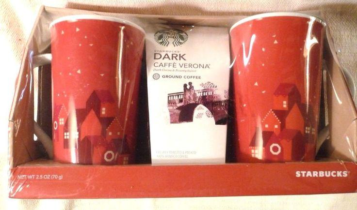 Starbucks Coffee Gift Set 2 Red Christmas Mugs Dark Caffe Verona 2013 New Sealed #Starbucks