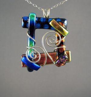 Dichro open square and swirl wire wrapped pendant