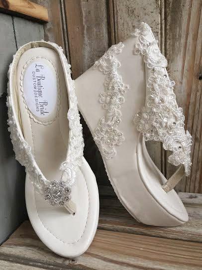 0c9b5e3c3 Destination Beach Wedding Wedge Ivory Beaded Lace Flip Flop Bride ...