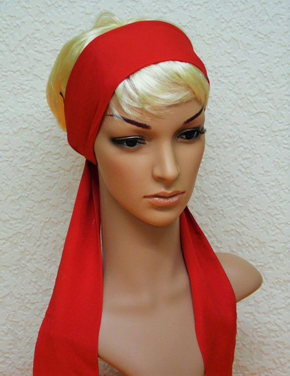 Red hair scarf self tie headband long by accessoriesbyrita on Etsy