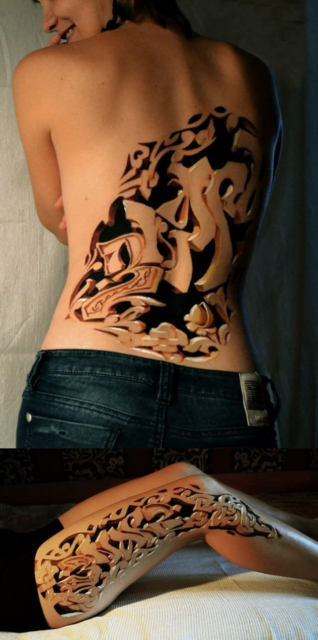 3D Graffiti Body Art by Znag from Russia I think this looks CREEPY!!!!