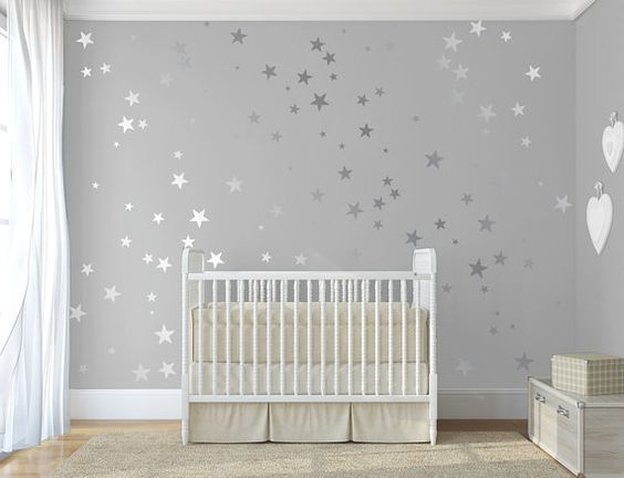 Grey confetti stars decal Twinkle little star decal for walls Baby nursery decor Stick on Wall Art ★ SIZE ★ 120 Gold Stars Stars comes in 6 sizes: