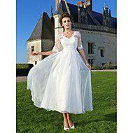 A-Linie Prinzessin V-Ausschnitt Knöchel-Länge Spitze Organza Hochzeitskleid mit Applikationen Spitze Schärpe / Band Schleife durch LAN