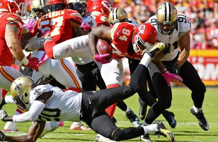 Saints vs. Chiefs  -  27-21, Chiefs  -  October 23, 2016:    New Orleans Saints' Brian Dixon trips up Kansas City Chiefs' Demetrius Harris on a kick return in the third quarter during Sunday's football game on October 23, 2016 at Arrowhead Stadium in Kansas City, Mo.