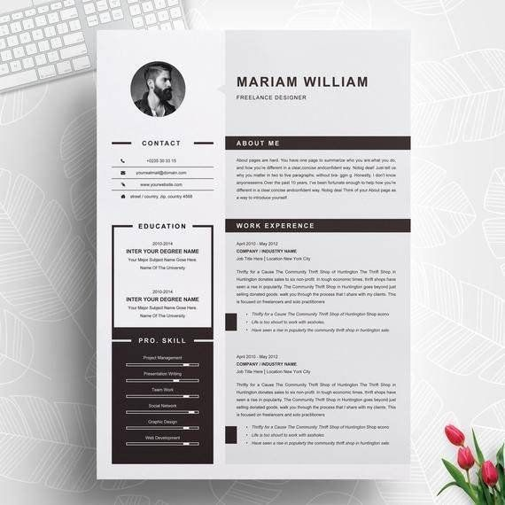 1 Page Resume Professional Cv Template Resume Template Ms Etsy In 2020 Cv Design Template Resume Template Resume Design