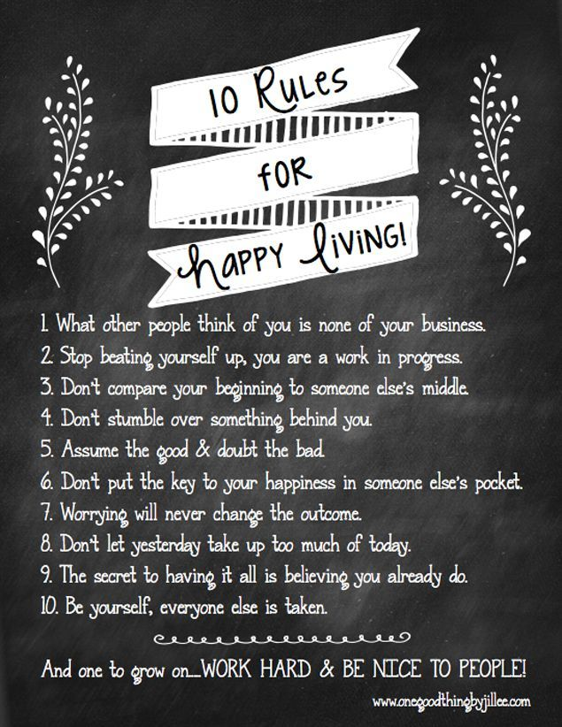 Jillee's Rules For Happy Living {Free Printable
