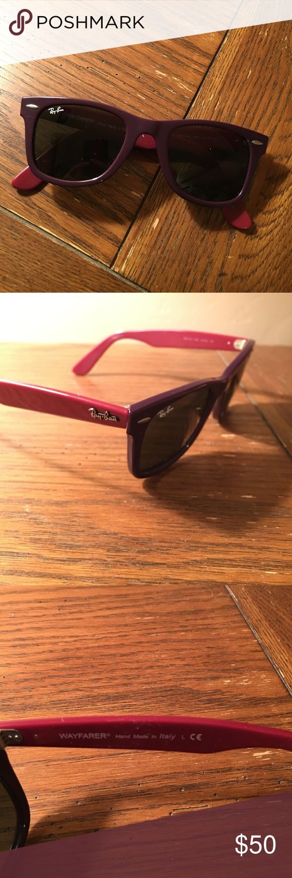 RayBan Wayfarers Limited edition purple & magenta authentic RayBan Wayfarer sunglasses. Good condition. Barely worn. Ray-Ban Accessories Sunglasses