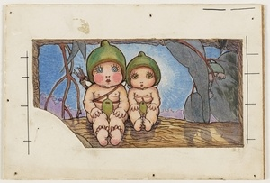 Nuttybub and Nittersing, 1923, watercolour drawing by May Gibbs. From the collections of the Mitchell Library, State Library of New South Wales http://www.sl.nsw.gov.au/discover_collections/society_art/gibbs/index.html