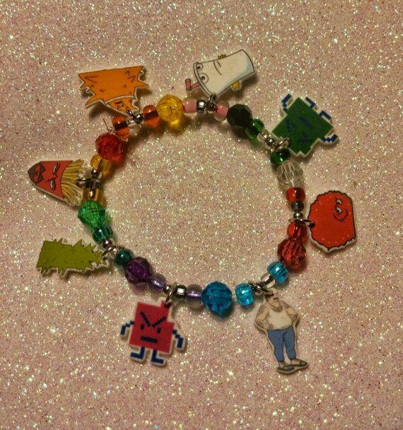 Aqua Teen Hunger Force Charm Bracelet. Master Shake, Frylock, Meatwad, Carl, Mooninites, Plutonians