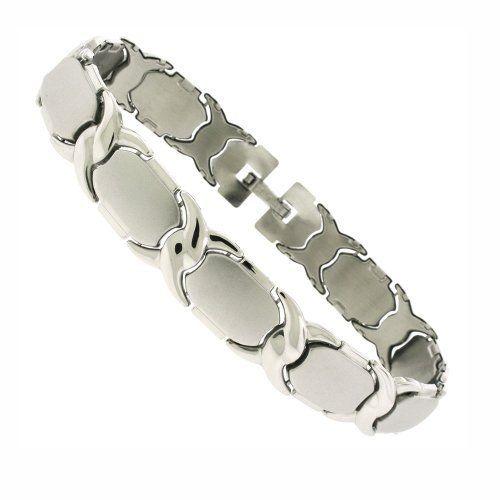 "Silver Tone Stainless Steel Stampato Bracelet 8"" DiamondMist. $18.75"