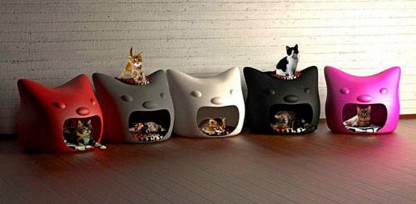 Colorful cat houses