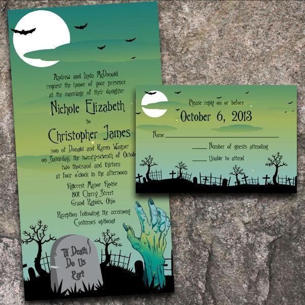 custom til death do us part zombie halloween wedding invitations - Zombie Halloween Invitations