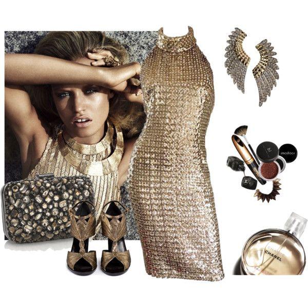 Моды смотреть с марта 2017 с золотой вечерние платья, металлические сандалии и ювелирные изделия серьги. Обзор и магазин, связанных с внешностью.