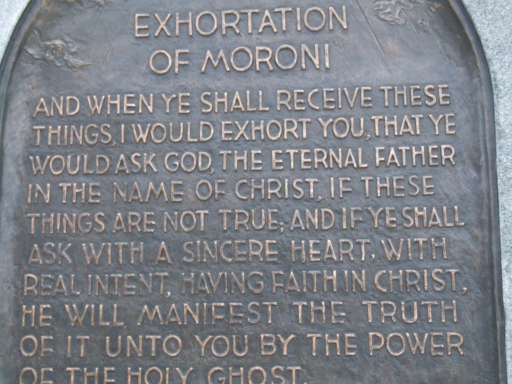 Exhortation of Moroni at the base of the Angel's statue, Palmyra, New York State.