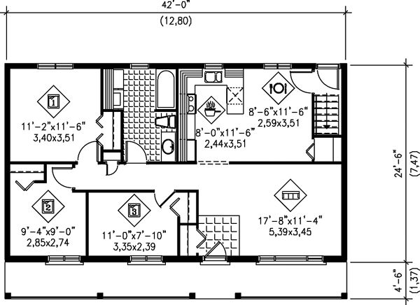 Ranch House Plan 49577 House Plans Cabin Floor Plans Country House Plans