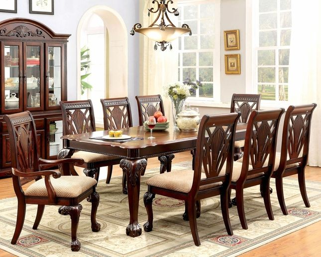 Burrowsville Traditional 5 Pc Ornate 64 82 Dining Table Set In