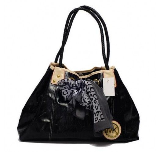 Michael Kors Scarf Jacquard Large Black Shoulder Bags [mk_1645]