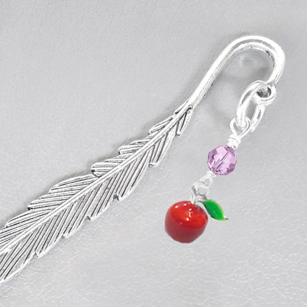 Teacher's Apple Bookmark - You will be the apple of Teacher's eye when you present them with this lovely gift.  Crafted with a gorgeous pewter metal feather effect shepherd's hook and embellished with a sparkling 10mm faceted Swarovski crystal (your colour choice) and a striking enameled metal apple measuring 23mm x 10mm.
