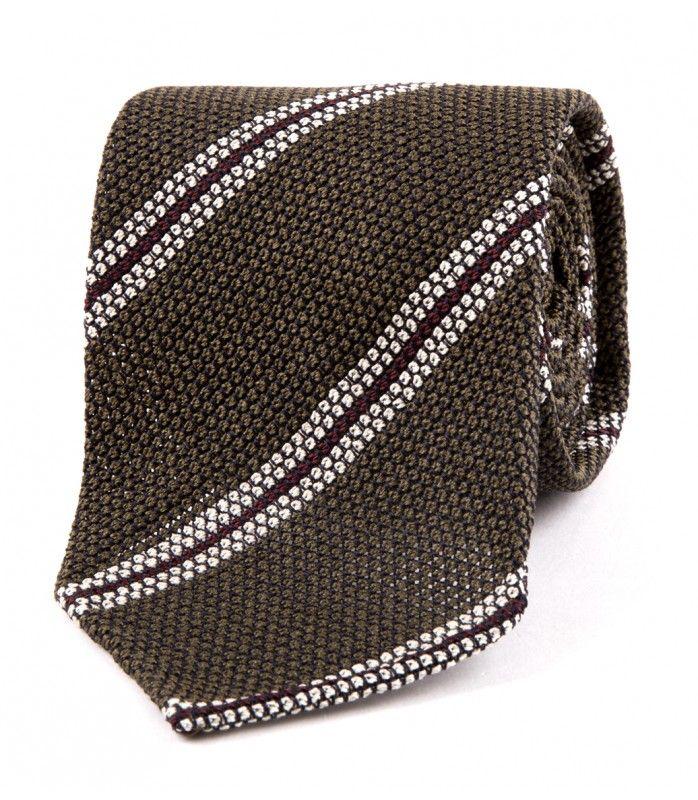 Khaki Stripe Boucle Grenadine Silk Tie