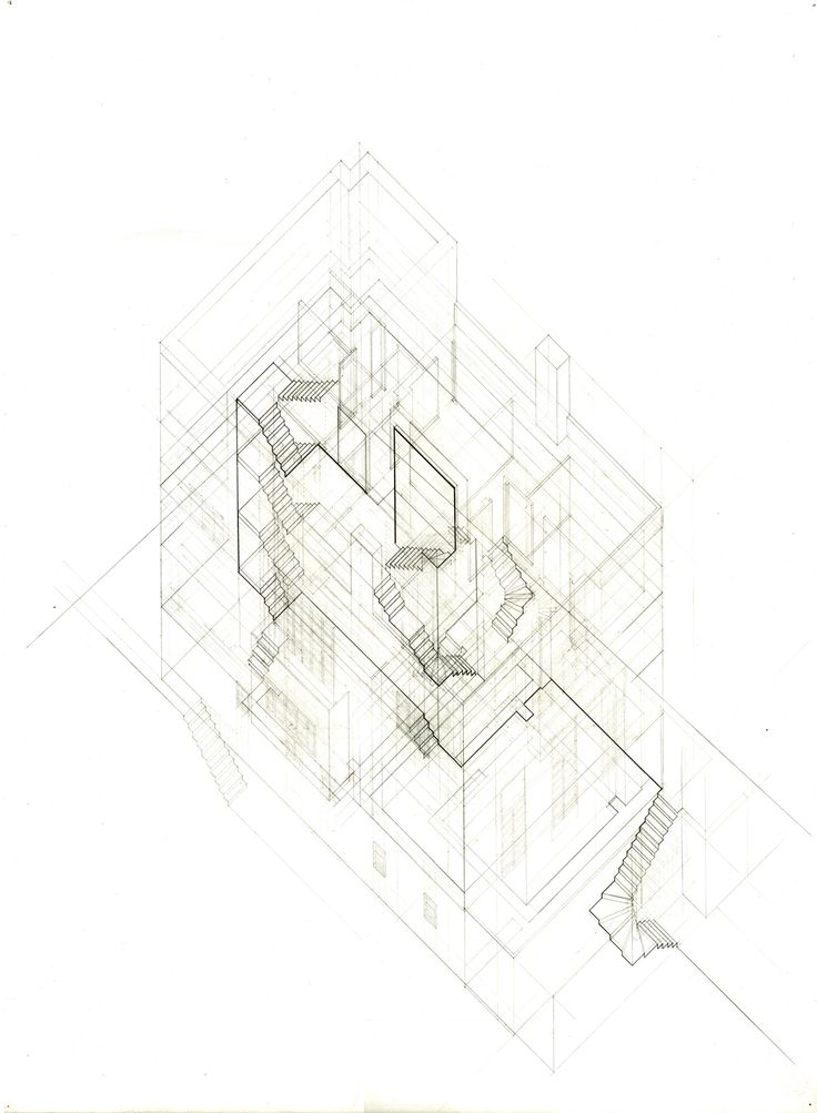 Lauren Roberson's plan oblique drawing of the Muller House