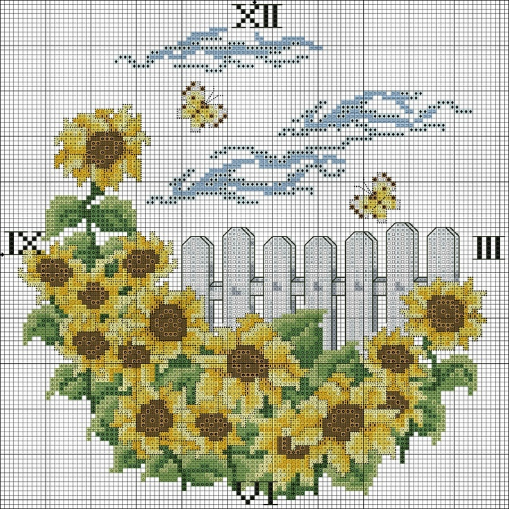 Cross-stitch Sunflowers Garden Clock