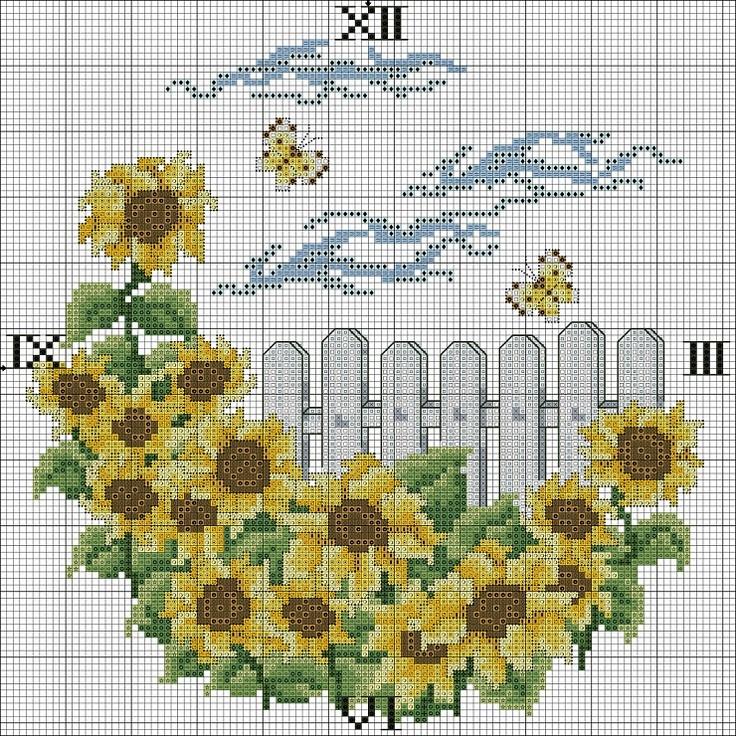 Cross-stitch Sunflowers Garden Clock